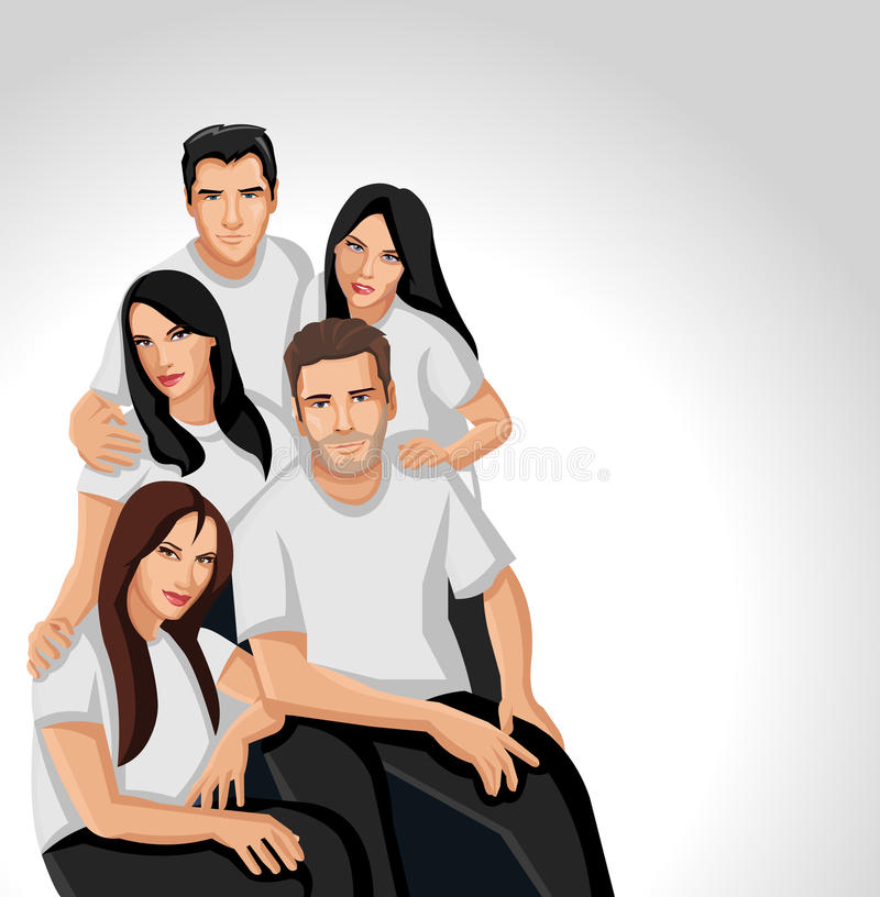 People wearing black clothes on sofa royalty free illustration