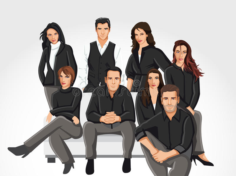 People wearing black clothes on sofa vector illustration