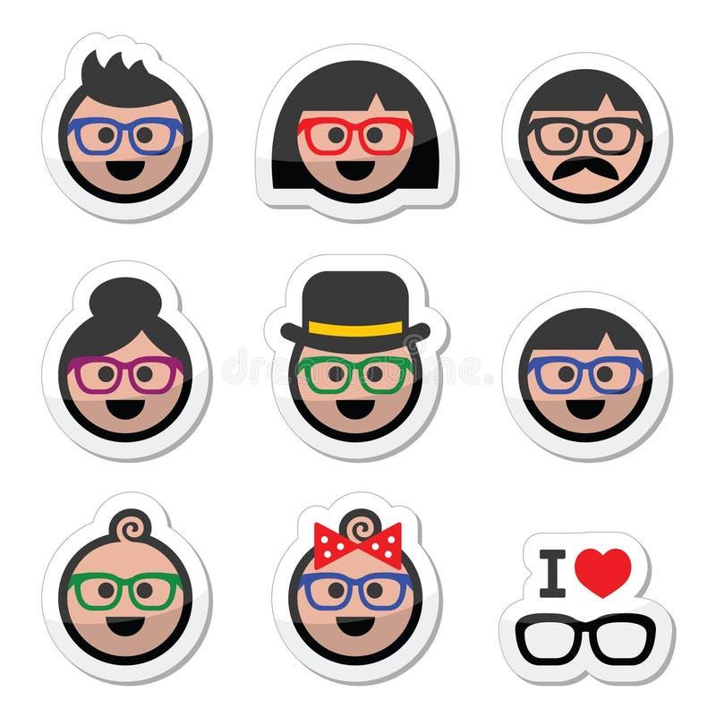 People wearing glasses, geek labels set. Vector labels set of people in glasses of different ages stock illustration