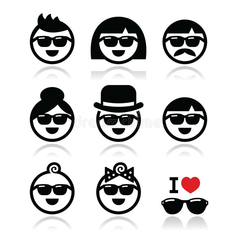 Download People Wearing Sunglasses, Holidays Icons Set Stock Illustration - Illustration of protection, head: 37804096