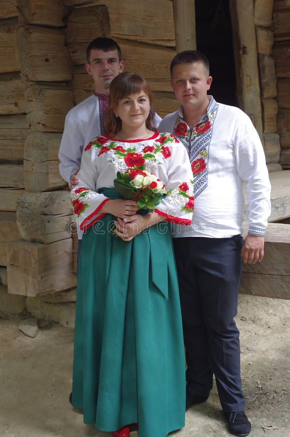 People wearing traditional Ukrainian clothing royalty free stock photos