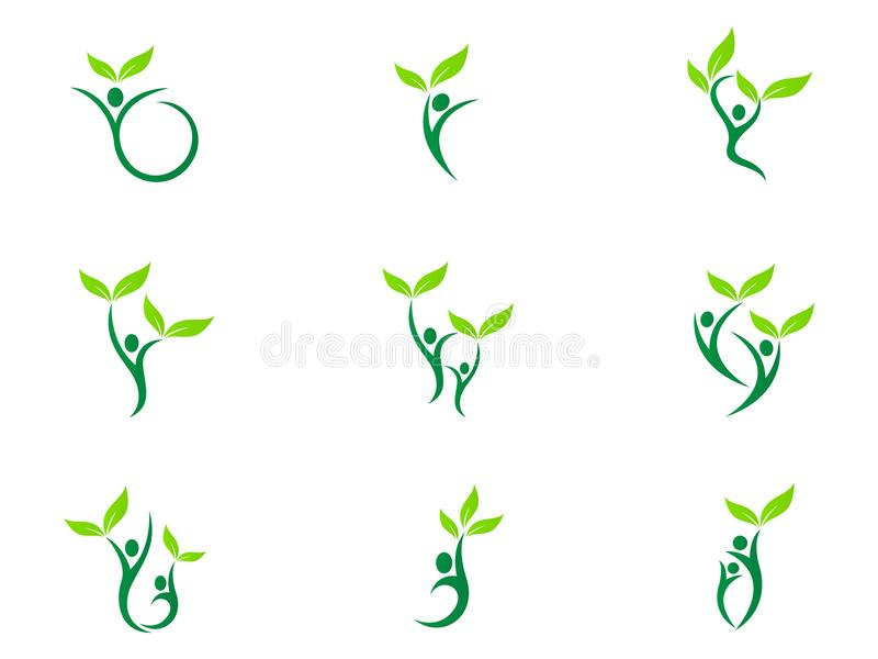 People wellness logo health care fitness eco friendly green couple agriculture success vector symbol icon design. People wellness eco green beauty spa health vector illustration