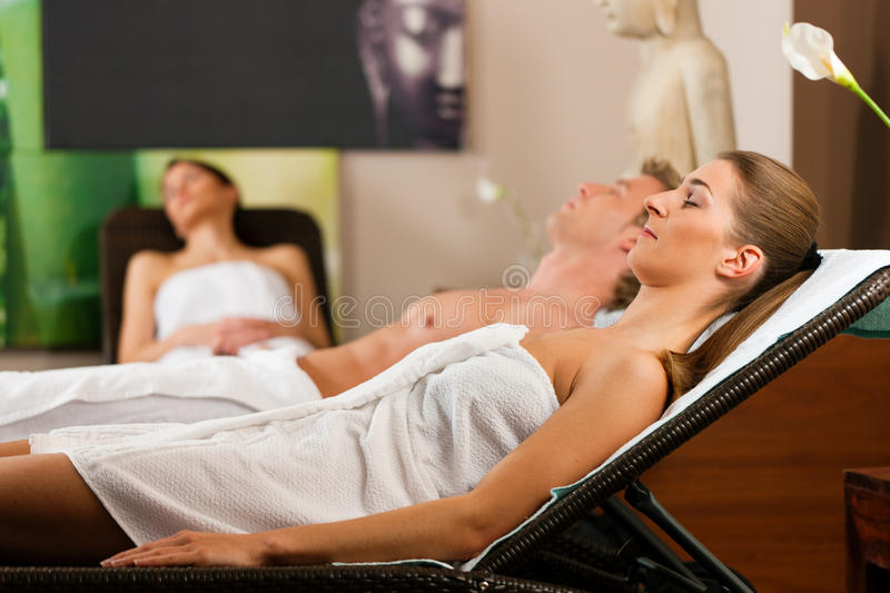 People In Wellness Relaxation Room Stock Photo