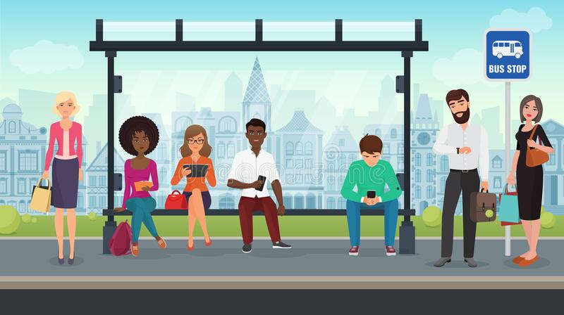 People were sitting at the modern bus stop. Vector illustration. vector illustration