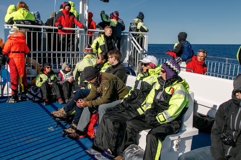 People on a whale watching tour stock images