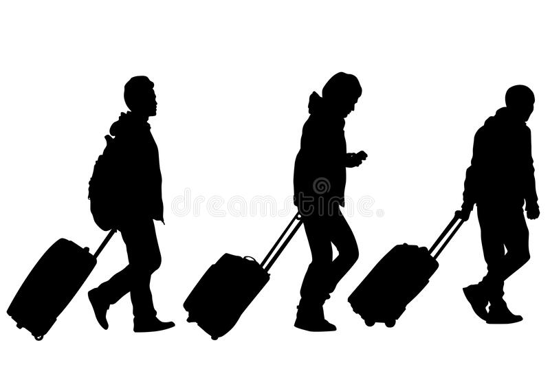 People and suitcases three stock illustration