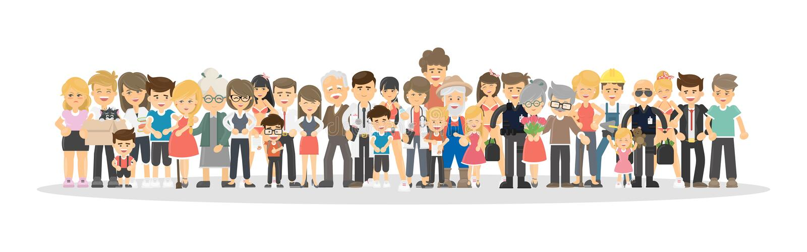 People on white. People on white background. Concept of big family, network community royalty free illustration