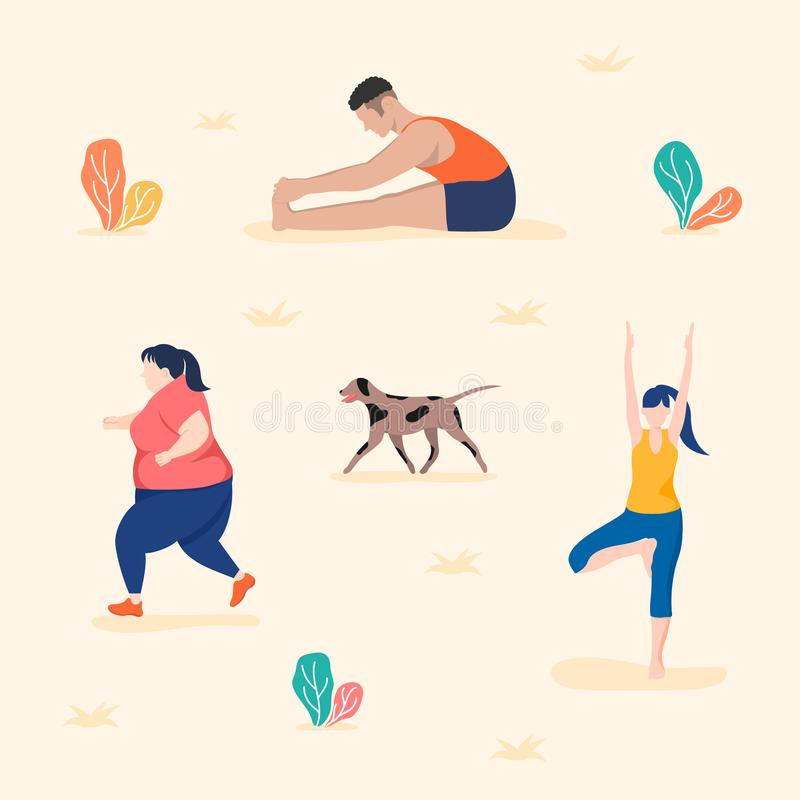 People who exercise in groups get more health benefits. vector illustration