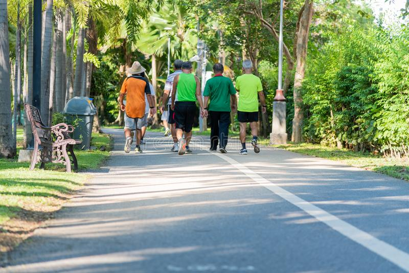 people who exercise by running and walking royalty free stock image