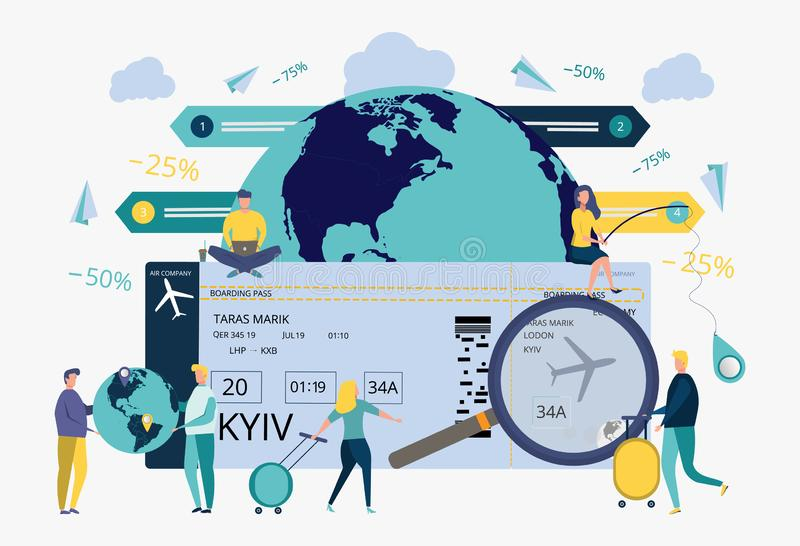 People who are looking for a flight schedule using a computer, booking hotels, booking air tickets on the Internet. Travel agency. Metaphor of tourist travel vector illustration