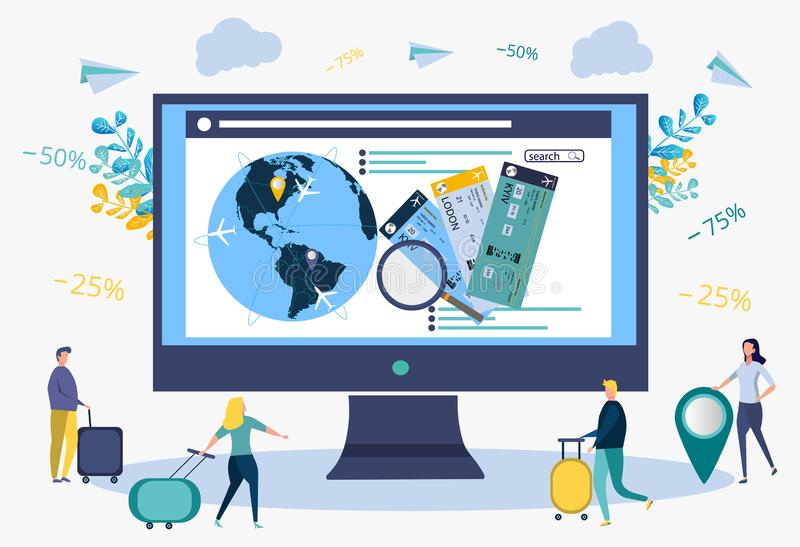People who are looking for a flight schedule using a computer, booking hotels, booking air tickets on the Internet. Travel agency. Metaphor of tourist travel royalty free illustration