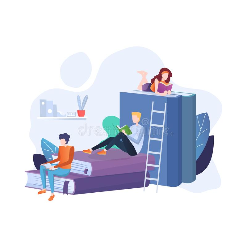 Reading Books concept. People sitting and reading on a huge stack of books. stock image