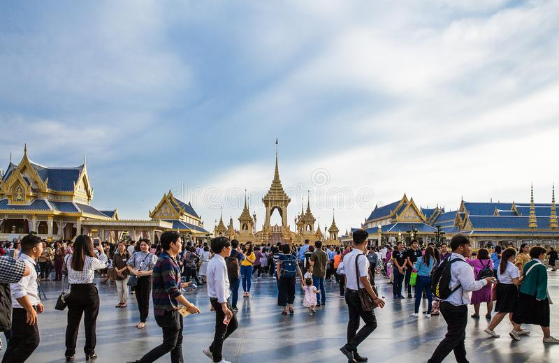 People who visit in Royal Crematorium for the Royal Cremation of His Majesty King Bhumibol Adulyadej. Bangkok Thailand royalty free stock images
