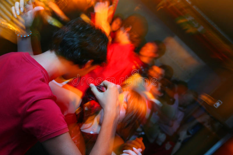 People on a wild party in a club stock photos