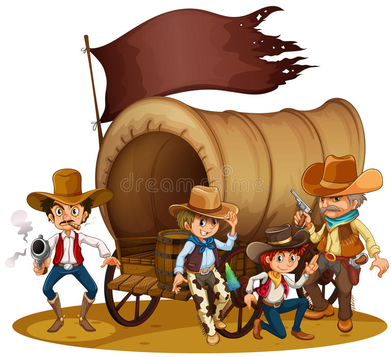 People from the wild West stock illustration