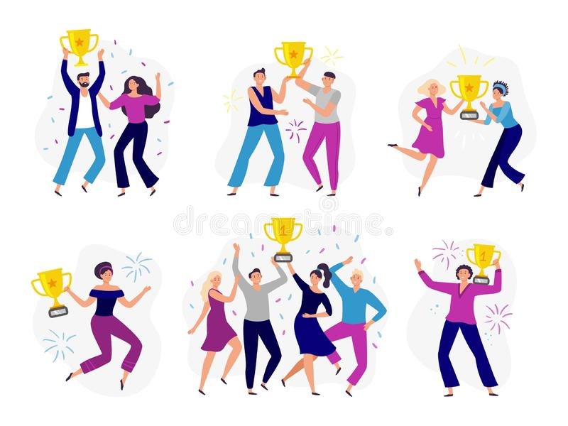 People win cup. Couple winners, man and woman holding gold cup. Success business tram win prize and celebrating victory stock illustration