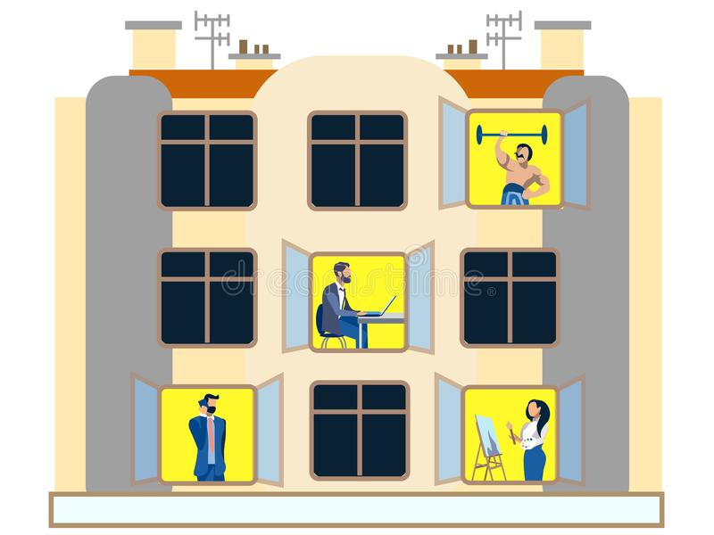 People in the windows of an apartment building day. Doing household chores. In minimalist style. Flat isometric vector. Illustration royalty free illustration