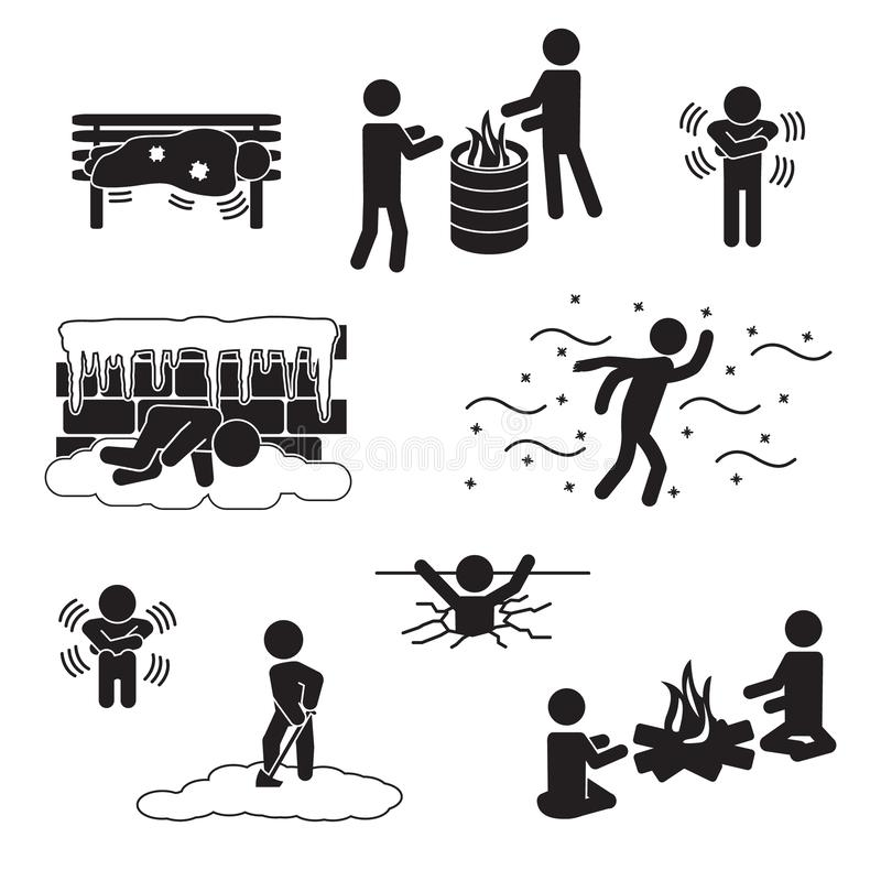 People in winter, freezing, in cold icon set. Vector. Eps10 vector illustration