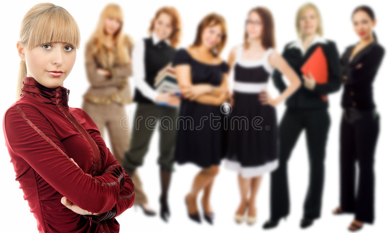 People woman group with leader. On white background stock photo