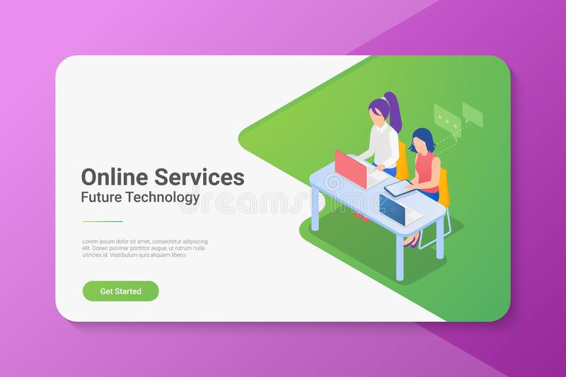 People Women girls sitting at Table with Laptop Notebook Isometric flat illustration. Online support concept vector illustration