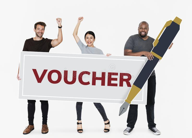 People won a gift voucher royalty free stock image