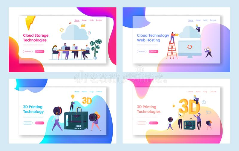 People Work in Cloud Space Landing Page. Male and Female Character Make 3D Technology Printing Set. Hosting Website. Or Web Page. Teamwork Management Flat royalty free illustration