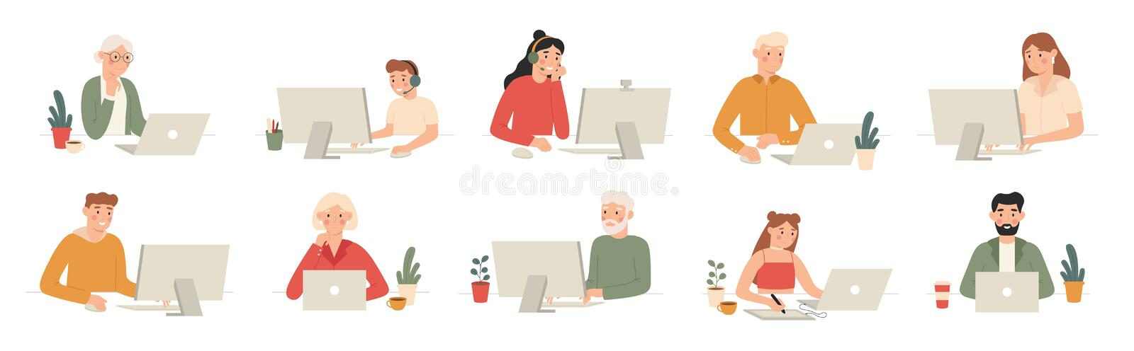 People work with computers. Students work with laptop and computer, office workers and seniors with laptops cartoon. Vector set. Man workplace at computer or royalty free illustration