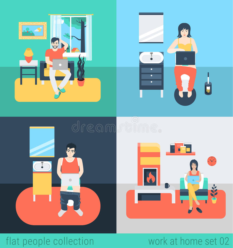 People Work At Home In Freelance Vector Flat Concept Stock Vector ...