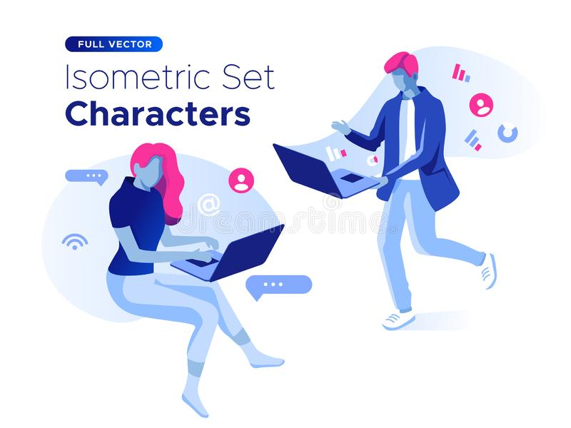 People work and interacting with graphs and devices. Data analysis and office situations. 3D Isometric vector illustration set. vector illustration