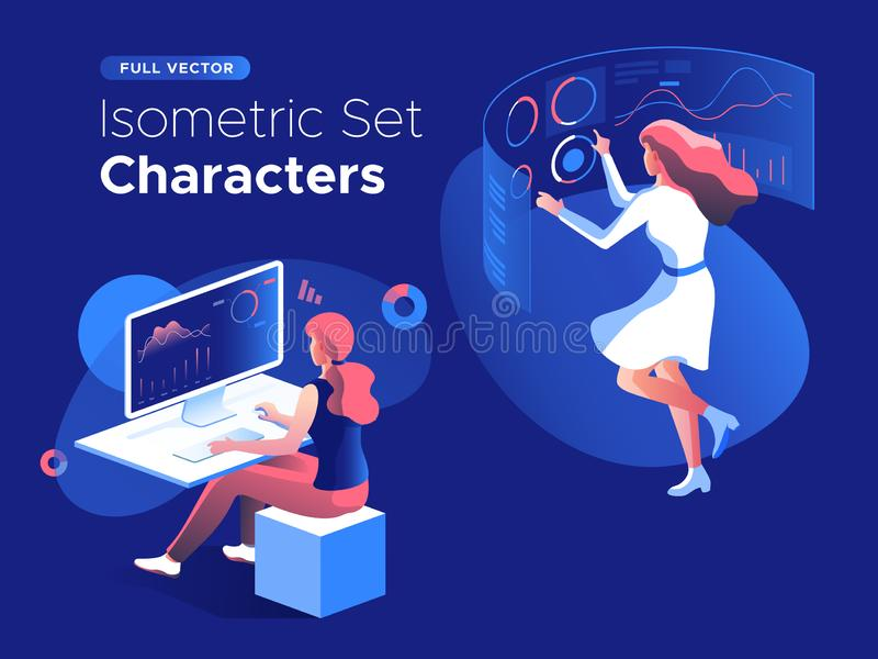 People work and interacting with graphs and devices. Data analysis and office situations. 3D Isometric vector illustration set. stock illustration