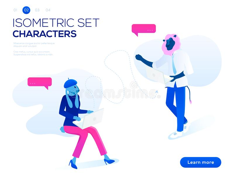 People work and interacting with graphs, icons and devices. Data analysis and office situations. 3D Isometric vector royalty free illustration