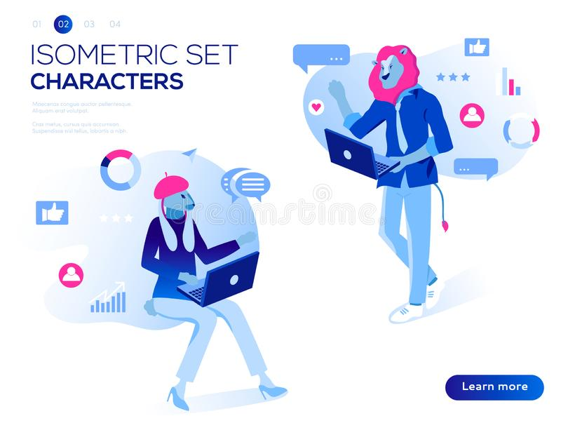 People work and interacting with graphs, icons and devices. Data analysis and office situations. 3D Isometric vector. Mobile application and website header vector illustration