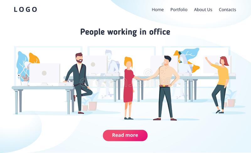 People work in a office and interact with devices. Business, workflow management and office situations. Landing page vector illustration