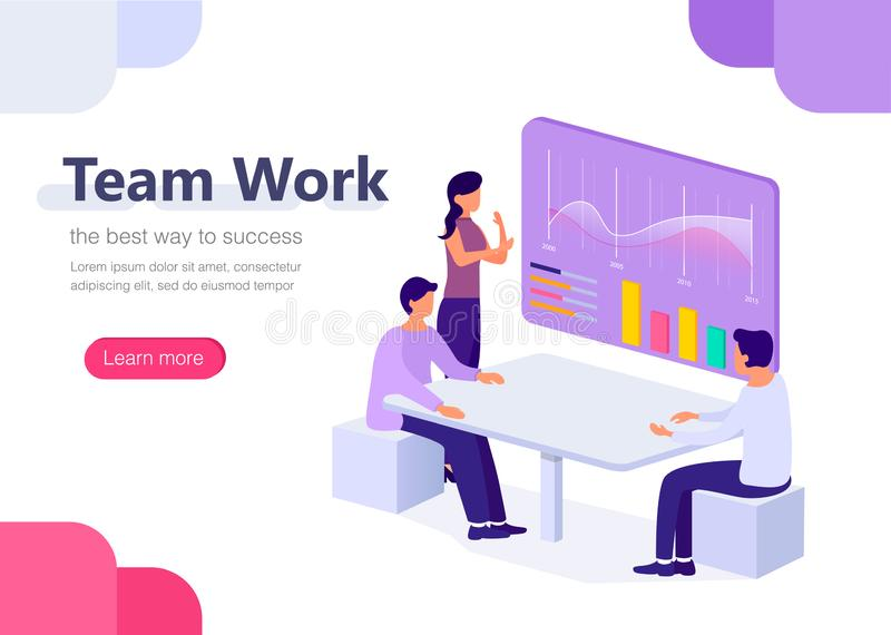 People work in office in a team with graphs. Management, business, workflow situations. Concept for infographics, web banner, land vector illustration