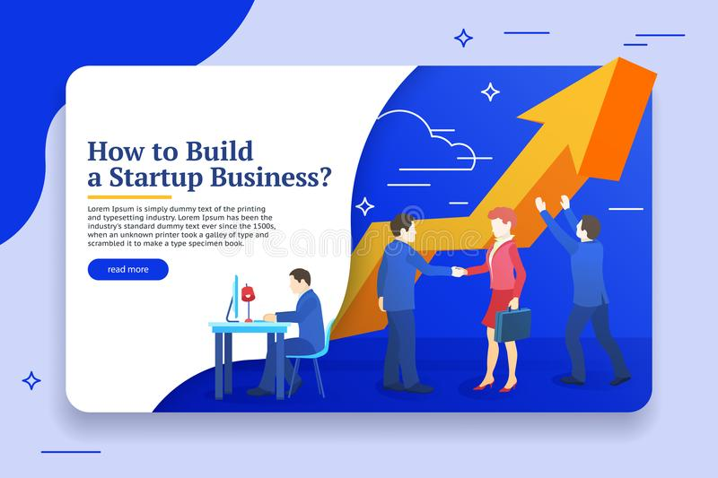 People work in a team and achieve the goal. Business planning, risk management design concept. Website banner templates. Startup c stock photo