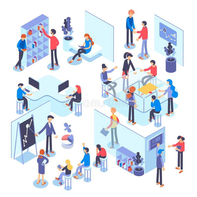 People work in a team and achieve the goal. Business processes and office situations. Isometric illustration. vector illustration