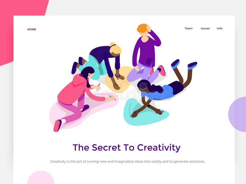 People work in a team and achieve a goal. Creative process and brainstorming. Landing page template. 3d vector isometric stock illustration