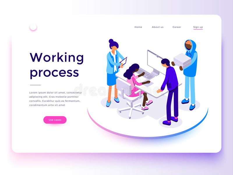 People work in a team and achieve the goal. Landing page template. 3d vector isometric illustration. stock illustration