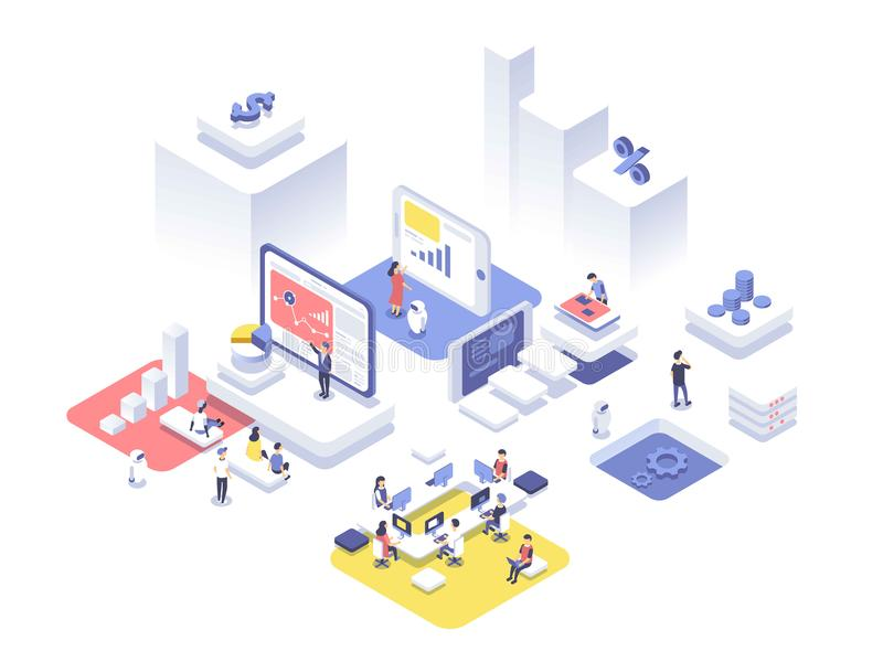 People work in a team and achieve the goal. Startup concept. Launch a new product on a market. Isometric illustration. stock illustration