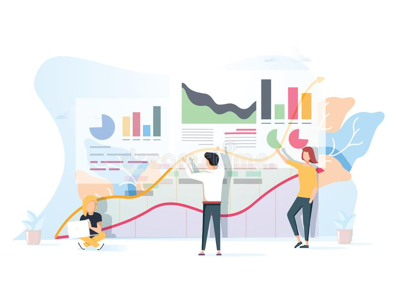 People work in a team and interact with graphs. Business, leadership, workflow management, office situations. stock illustration