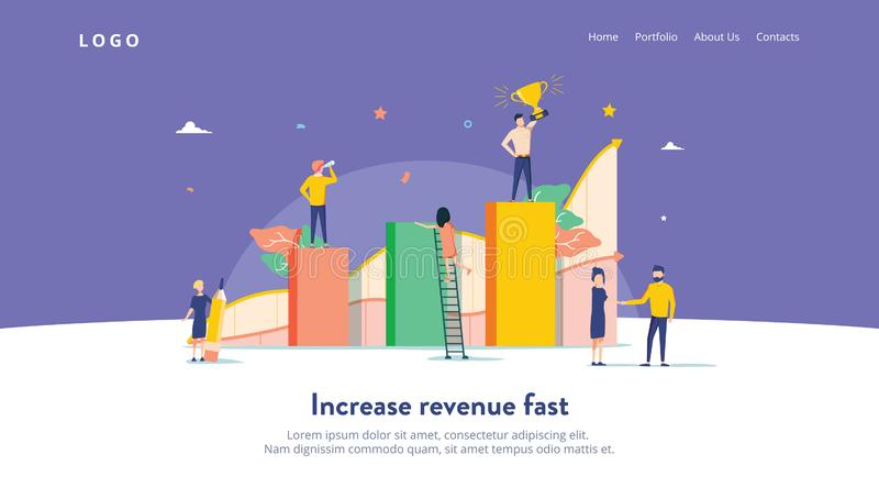 People work in a team and interact with graphs. Business, leadership, workflow management, office situations. Landing royalty free illustration