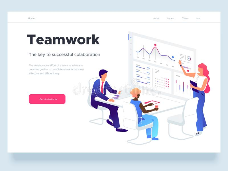People work in a team and interact with graphs. Business, workflow management and office situations. Landing page vector illustration