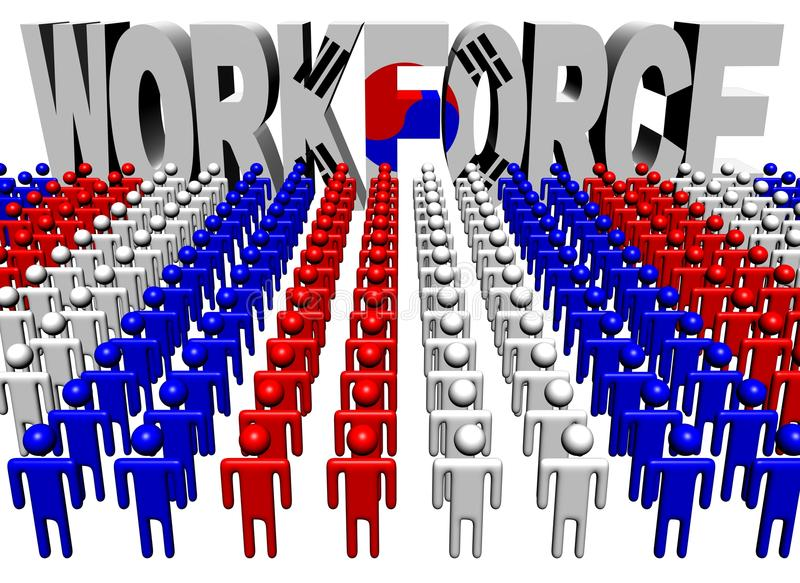 Download People With Workforce Korean Flag Text Stock Illustration - Image: 21243653