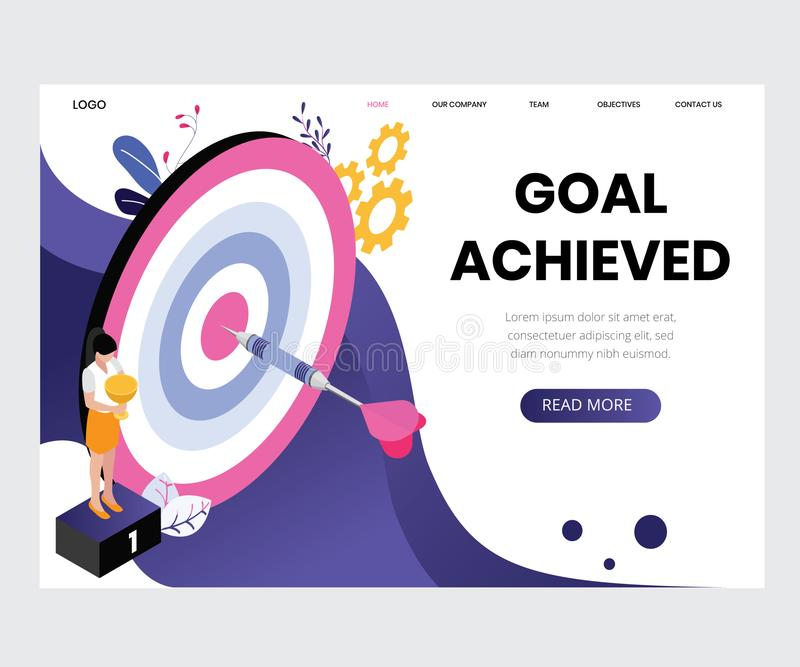 People are Working as a Team to Achieve the Results Isometric Artwork Concept royalty free illustration