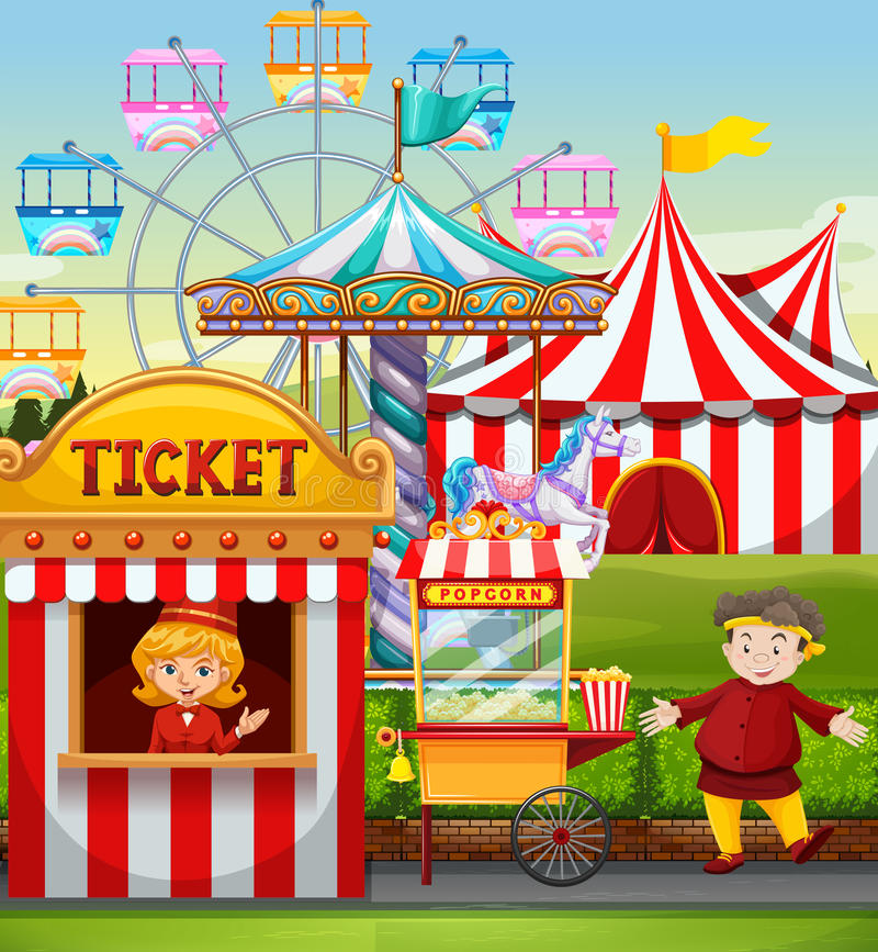 People working at the carnival royalty free illustration