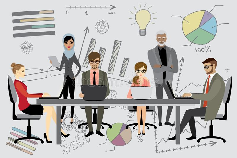 People working on computer flat style cartoon, stock illustration