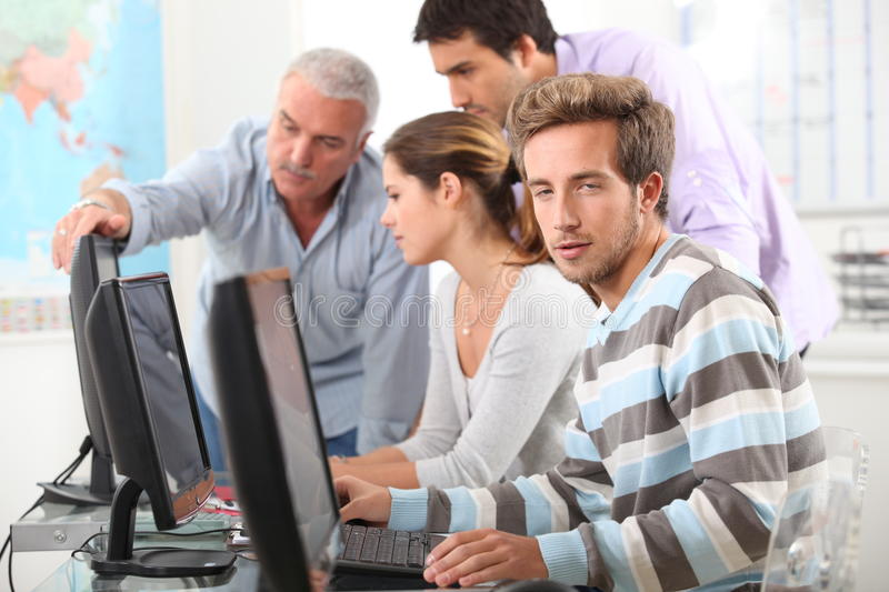 Download People Working On Computers Stock Image - Image of classroom, keyboard: 35929355