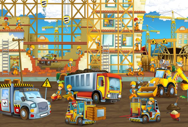 People working on the construction site with different vehicles cars. Illustration for the children stock illustration