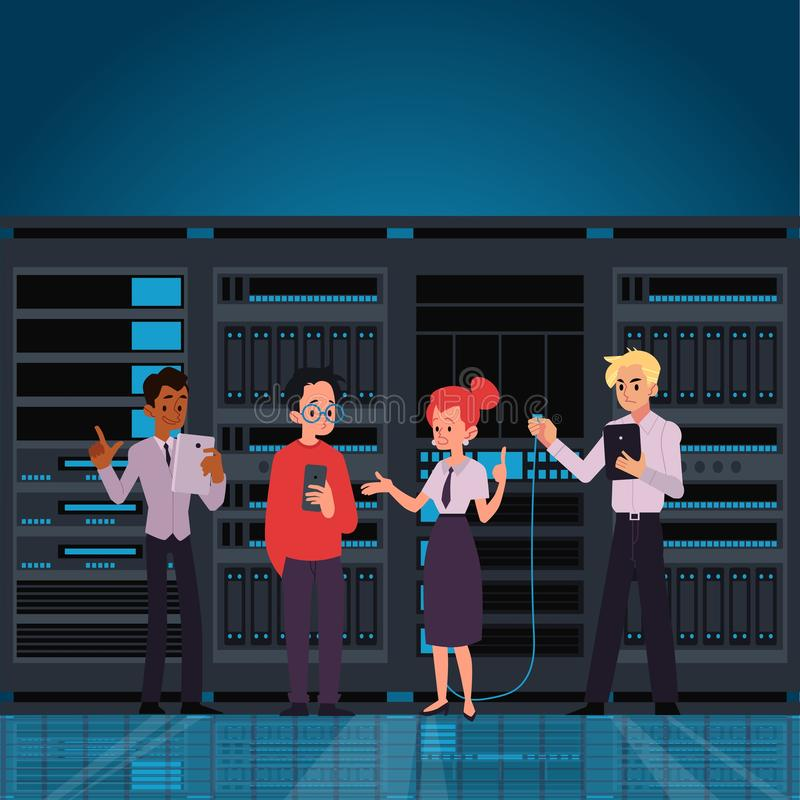 People working data center room or computer server flat vector illustration. I royalty free illustration