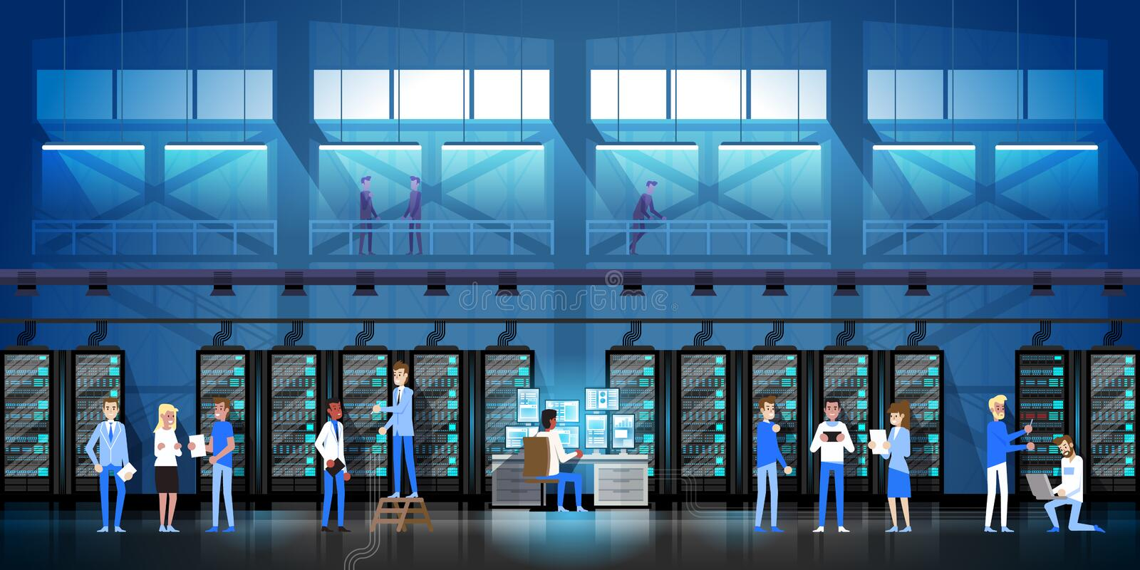 People Working In Data Center Room Hosting Server Computer Monitoring Information Database Flat Vector Illustration royalty free illustration